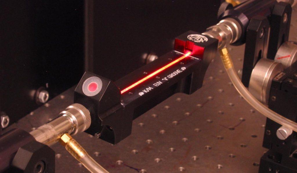 "A ""waveguide"" that converts traditional laser light into laser-like beams at extreme ultraviolet wavelengths. (Credit: Kapteyn-Murnane Group)"
